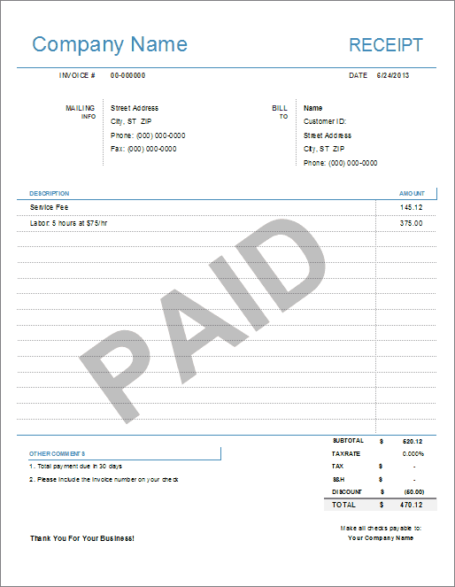 Receipt Paid Invoice Template