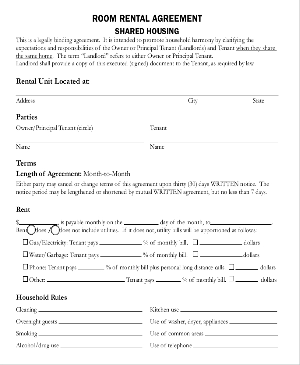 Rent Room Contract Template