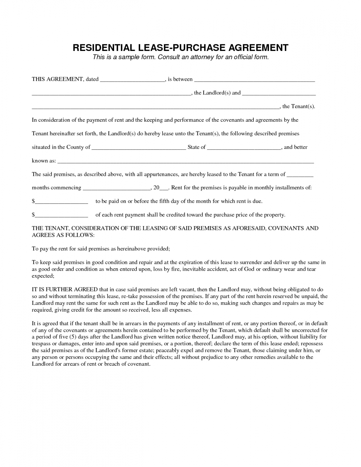 Free Rent To Own Home Agreement Template 25534 Lease To Own Contract Home Rent To Own Agreement Template