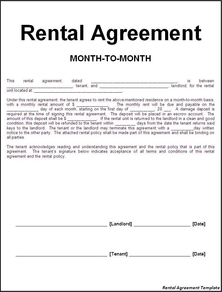 Rental Agreements Templates Free