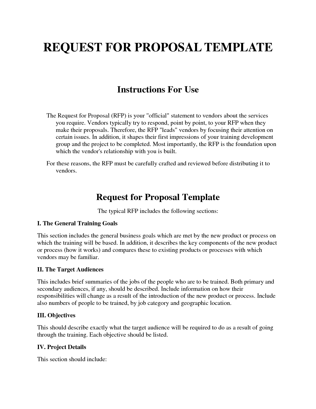 Request For Proposal Template Word Document