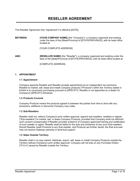 Reseller Agreement Template Free