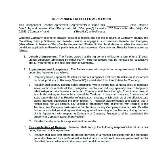 Reseller Agreement Template Uk