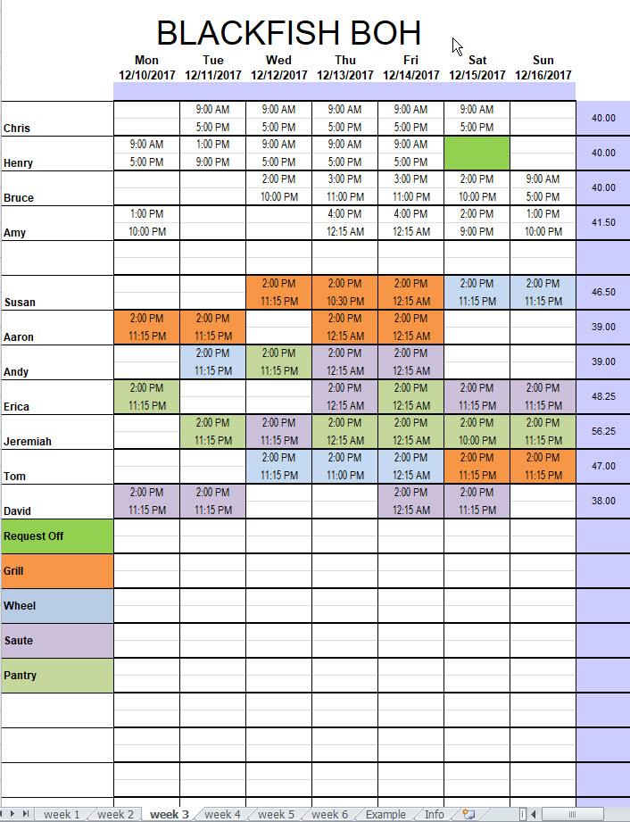 Restaurant Kitchen Schedule Template