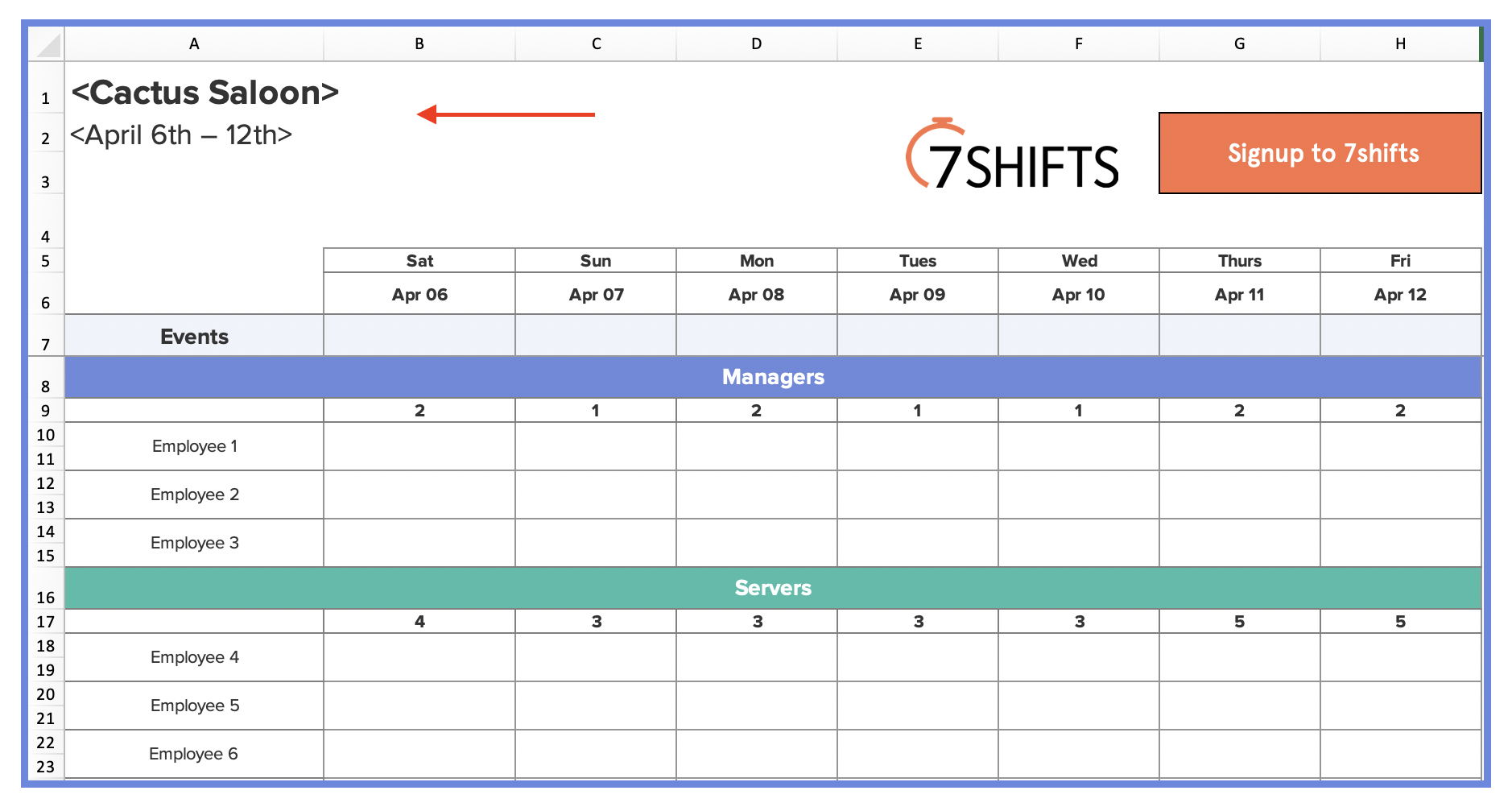 Restaurant Work Schedule Template Free