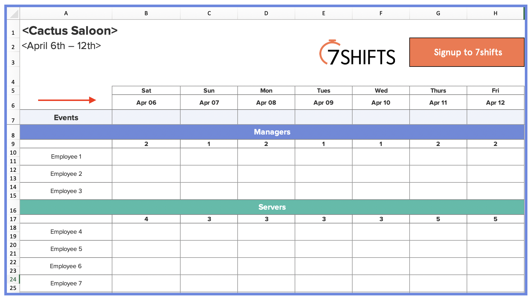 Restaurant Work Schedule Template