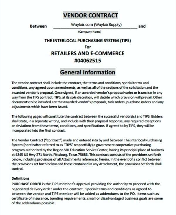 Retail Vendor Contract Template