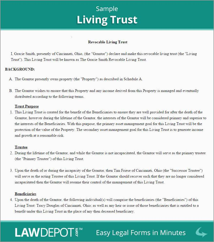 Revocable Trust Template Free Pretty Revocable Living Trust