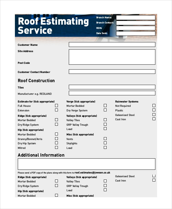 Roofing Estimate Template Pdf