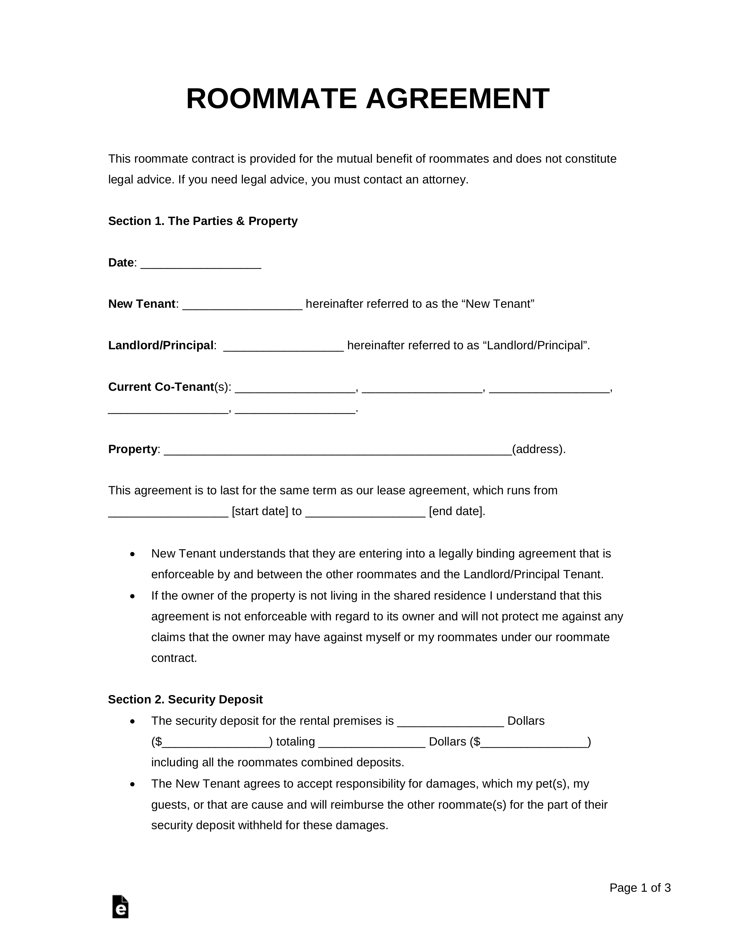 Room Rental Roommate Agreement Template