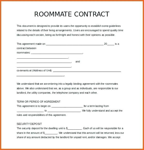 Roommate Contract Template Free