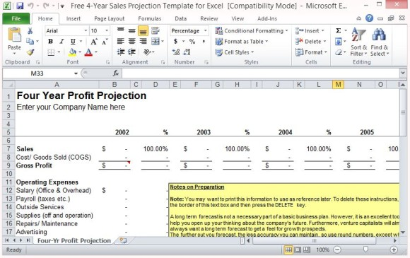 Sales Projection Template Excel