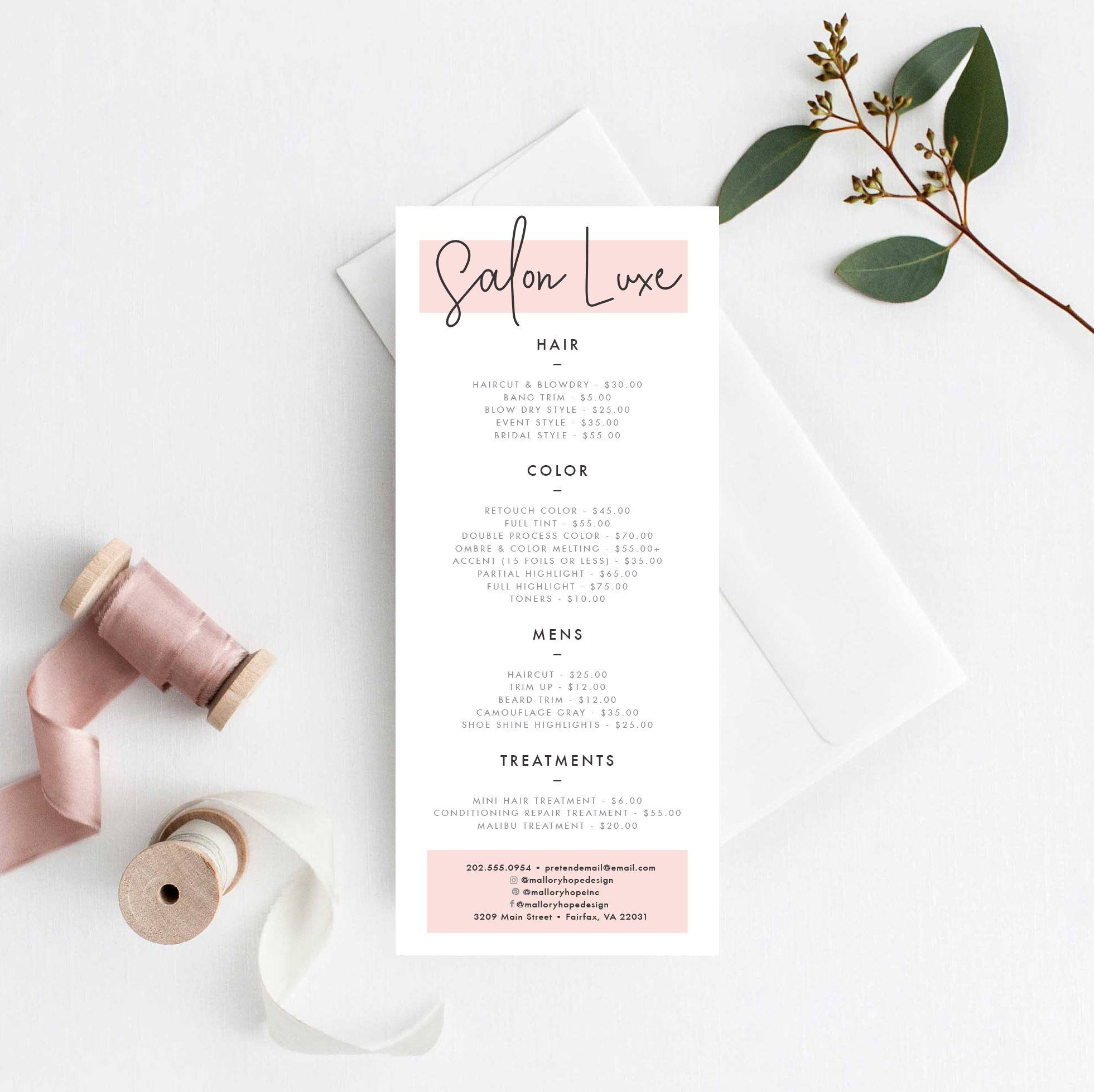 Salon Price Menu Template