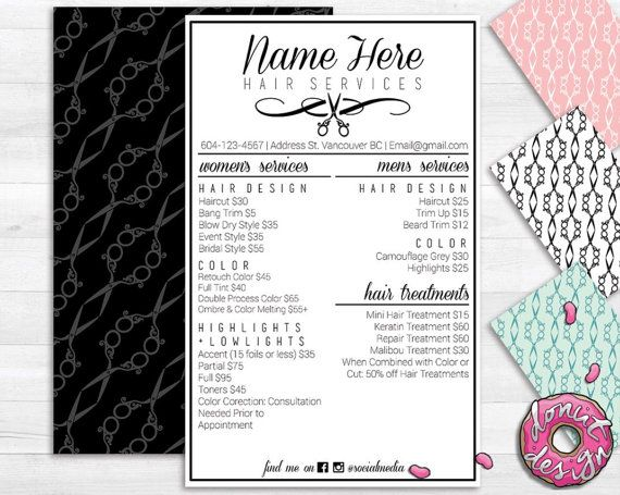 Salon Service Menu Template