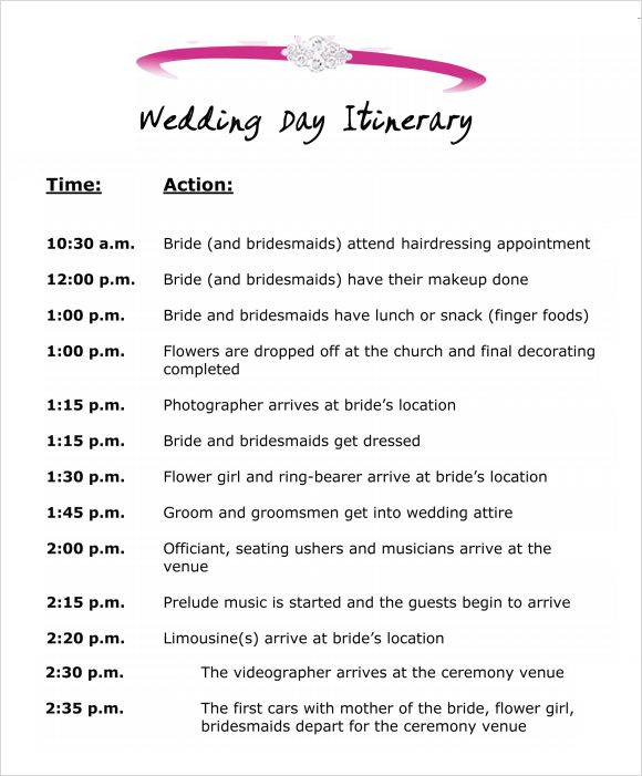 Sample Wedding Agenda Template