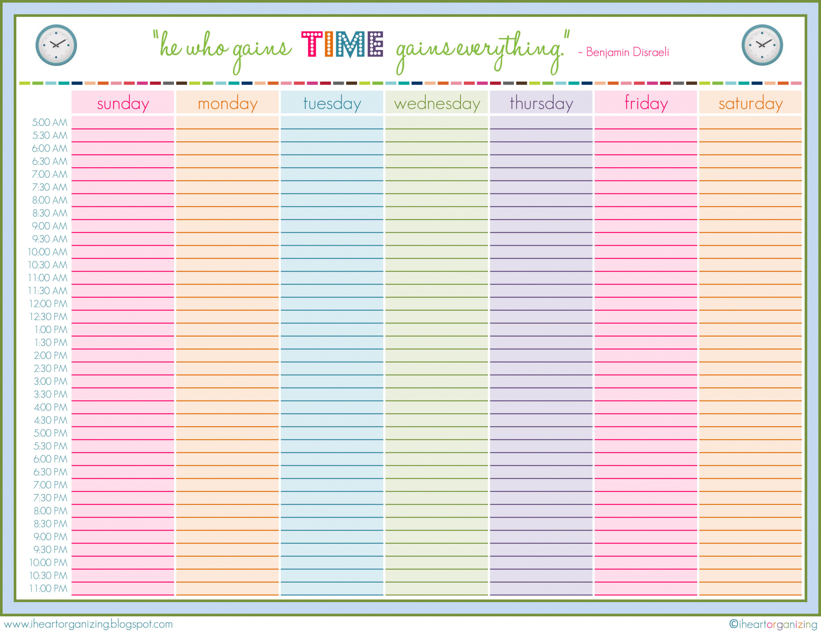 7 Day Schedule Maker Daily Agenda Template Google Docs