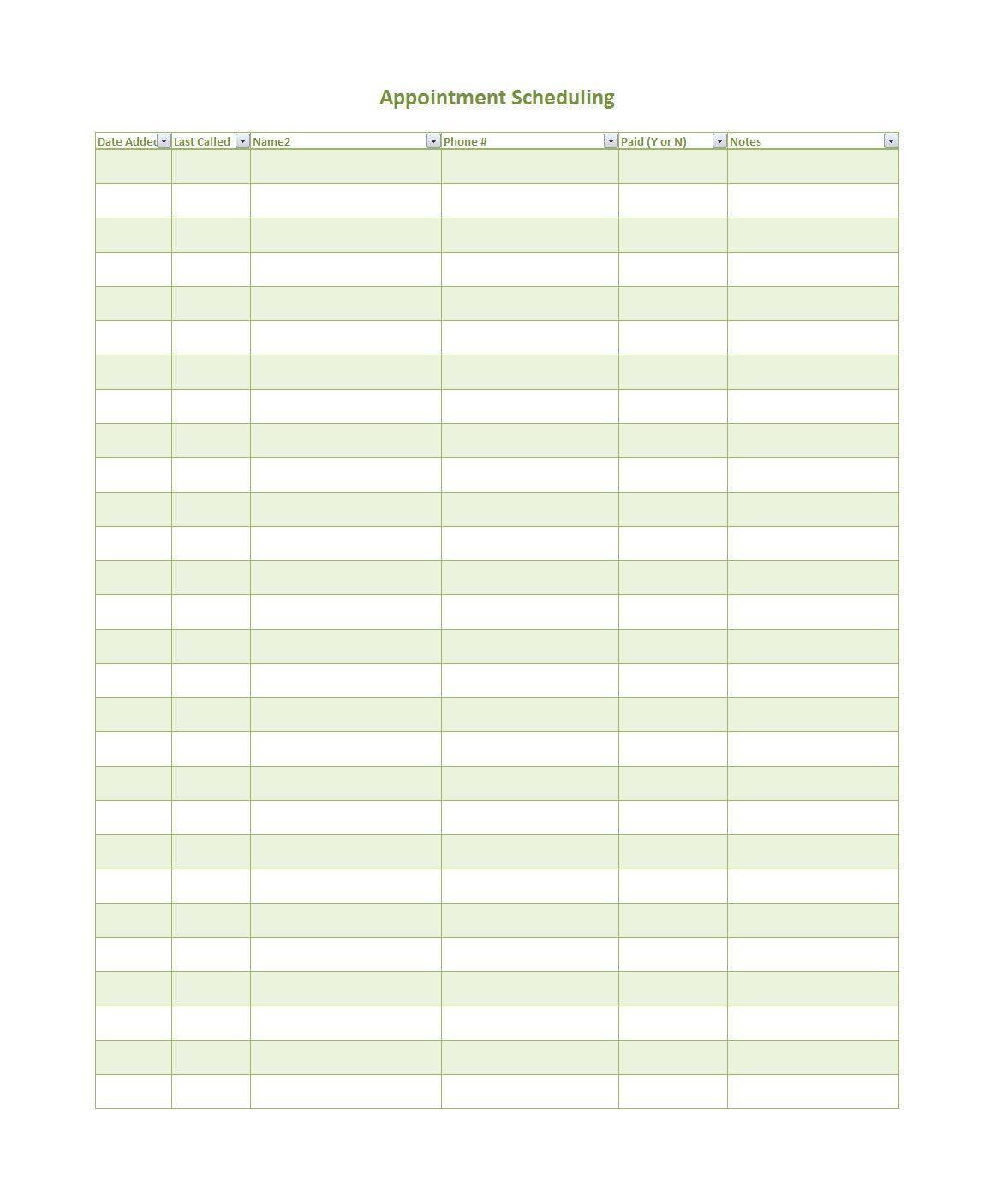Scheduling Calendar Template Free