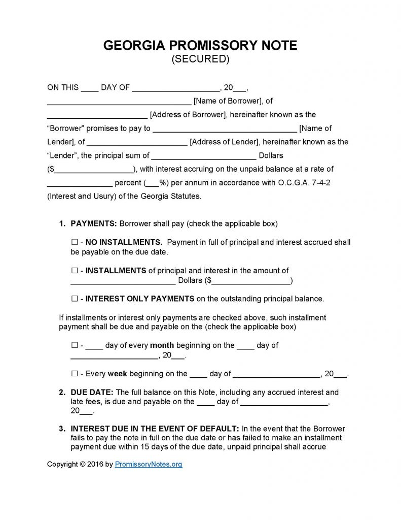 Secured Promissory Note Template Georgia