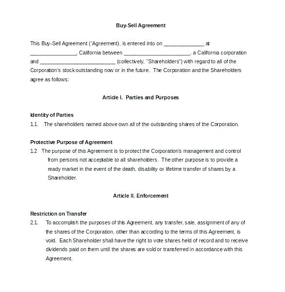 Shareholders Agreement Template Ireland