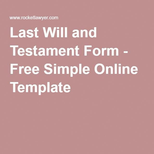 Simple Last Will And Testament Free Template