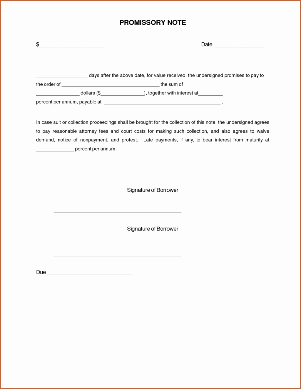Simple Promissory Note Template Promise To Pay Letter Template