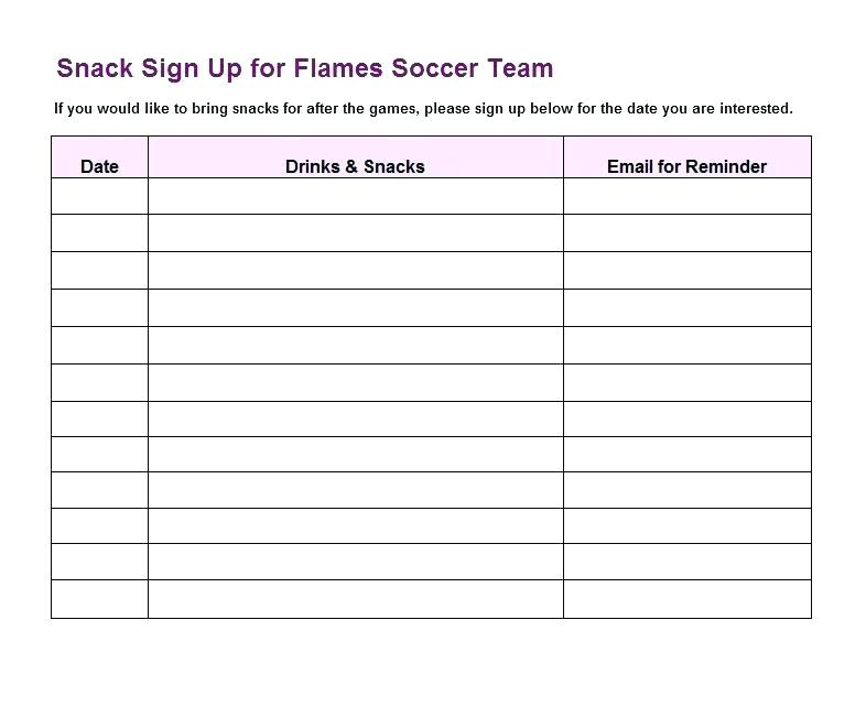 Snack Schedule Template Soccer Snack Sign Up Sheet