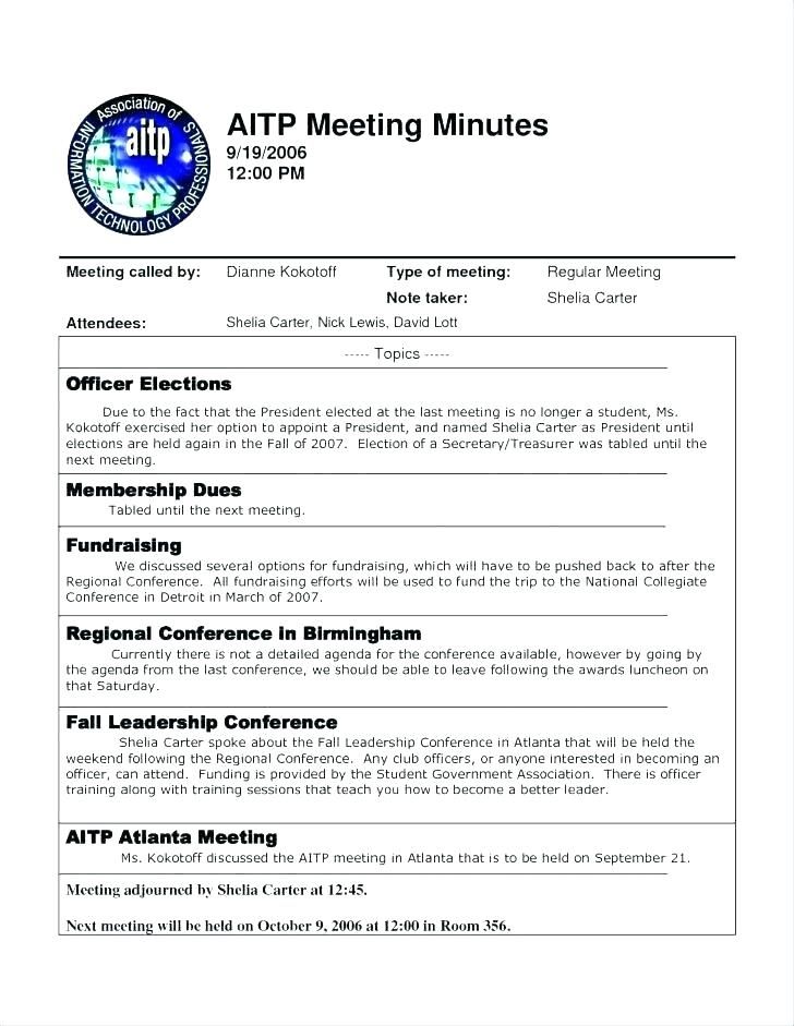 Staff Meeting Minutes Template Doc