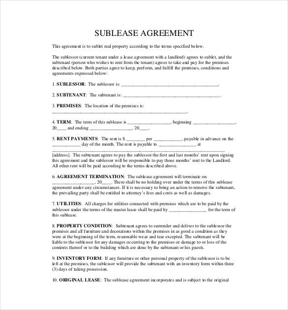 Sublet Agreement Template Pdf