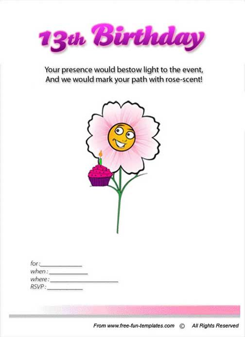 Teenage Birthday Invitations Templates Free