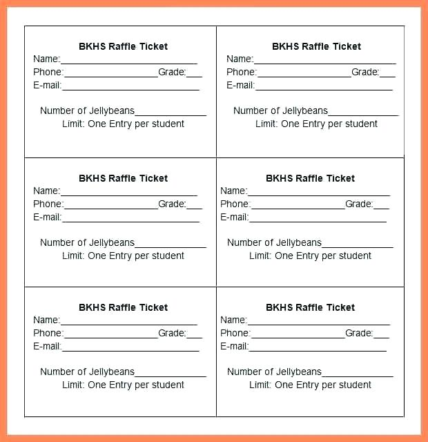 Template For Raffle Tickets Excel