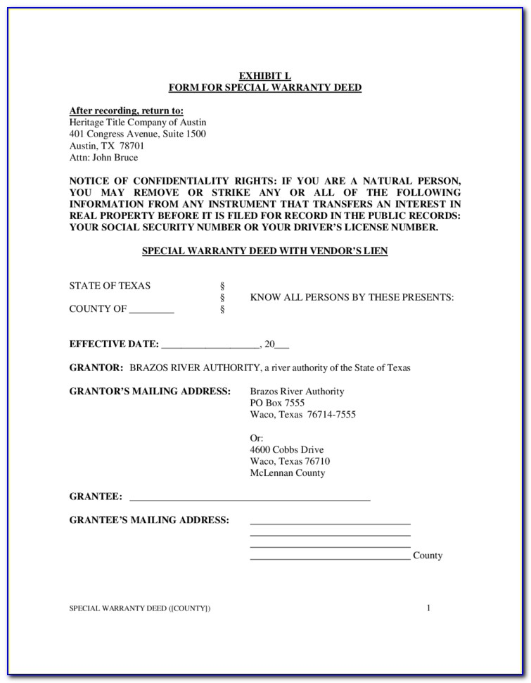 Texas Special Warranty Deed Template