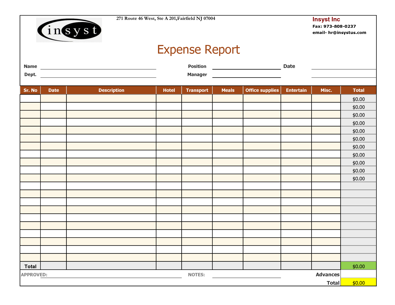 Travel Expense Sheet Template Free