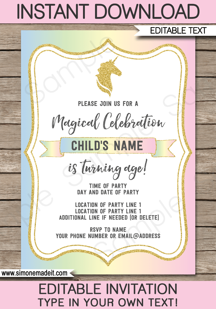Unicorn Birthday Party Invite Template