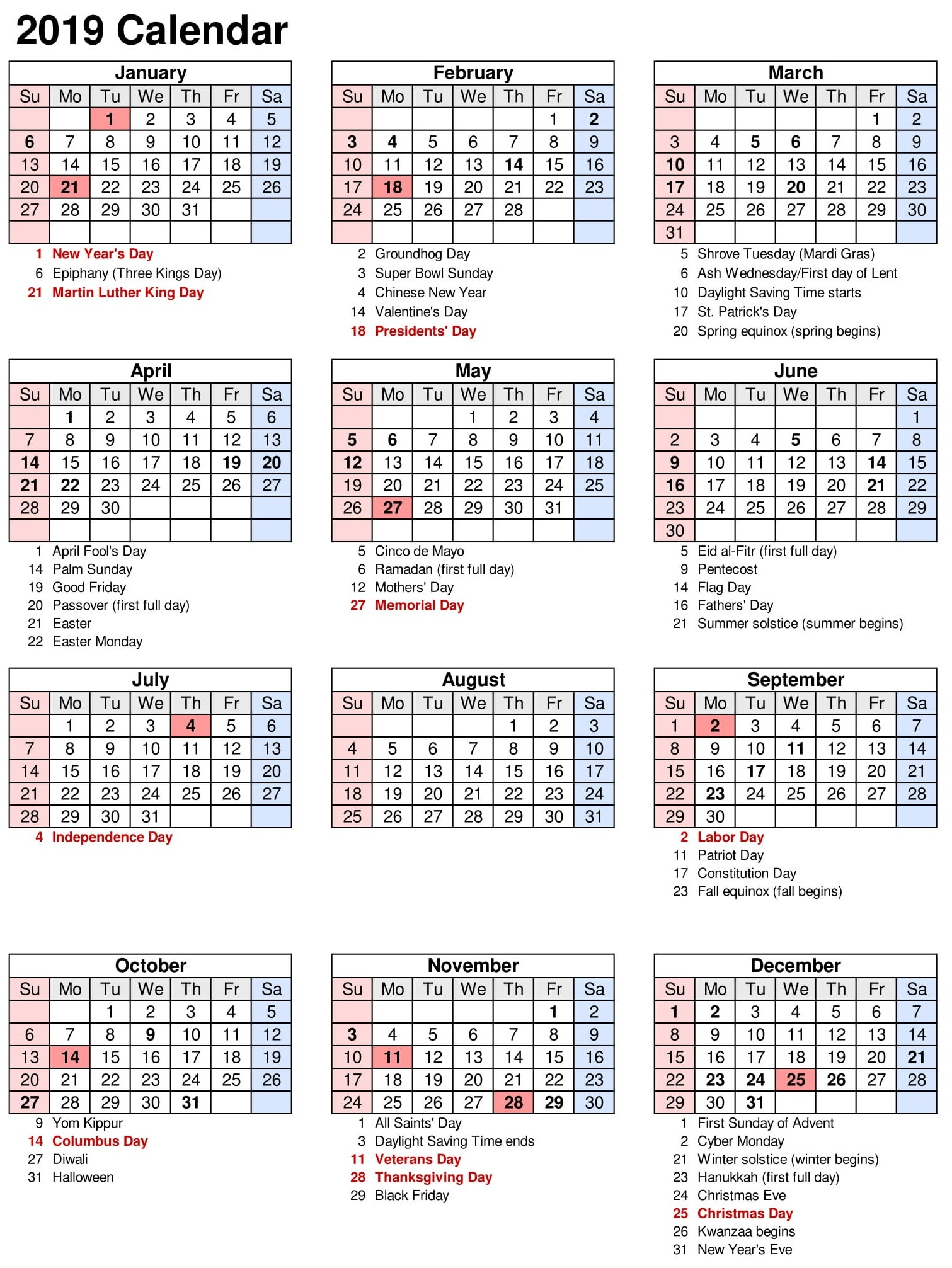 Vacation Calendar Template 2019