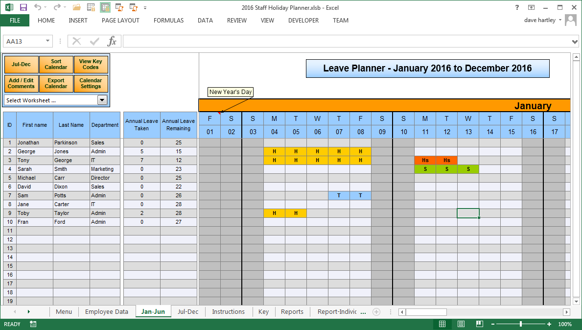 Vacation Calendar Template For Employees