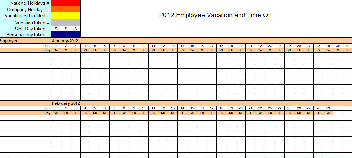 Vacation Schedule Template 2019