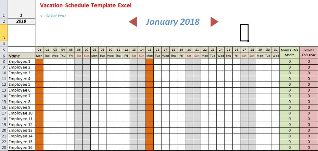 Vacation Schedule Template Excel