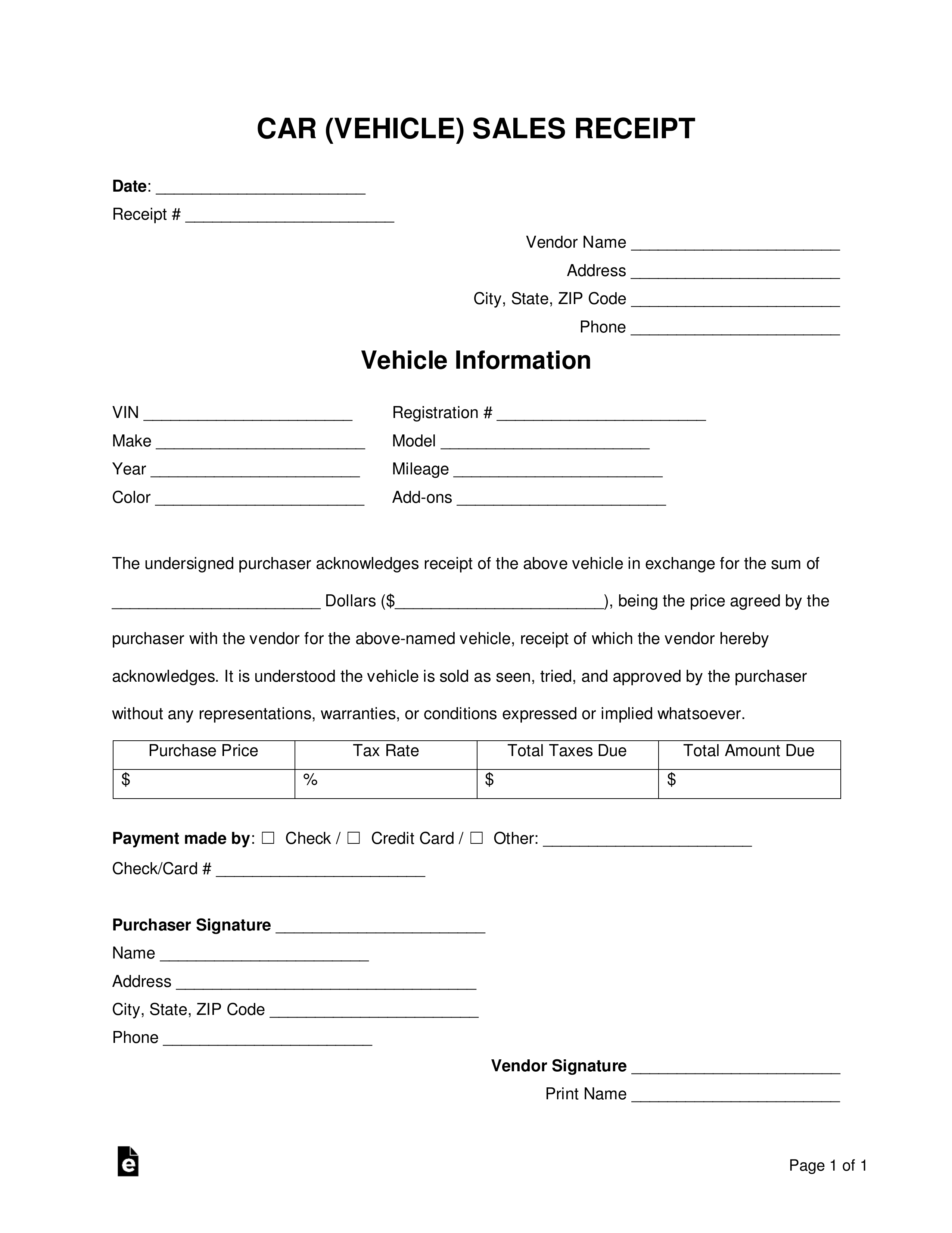 Vehicle Sales Receipt Template Free