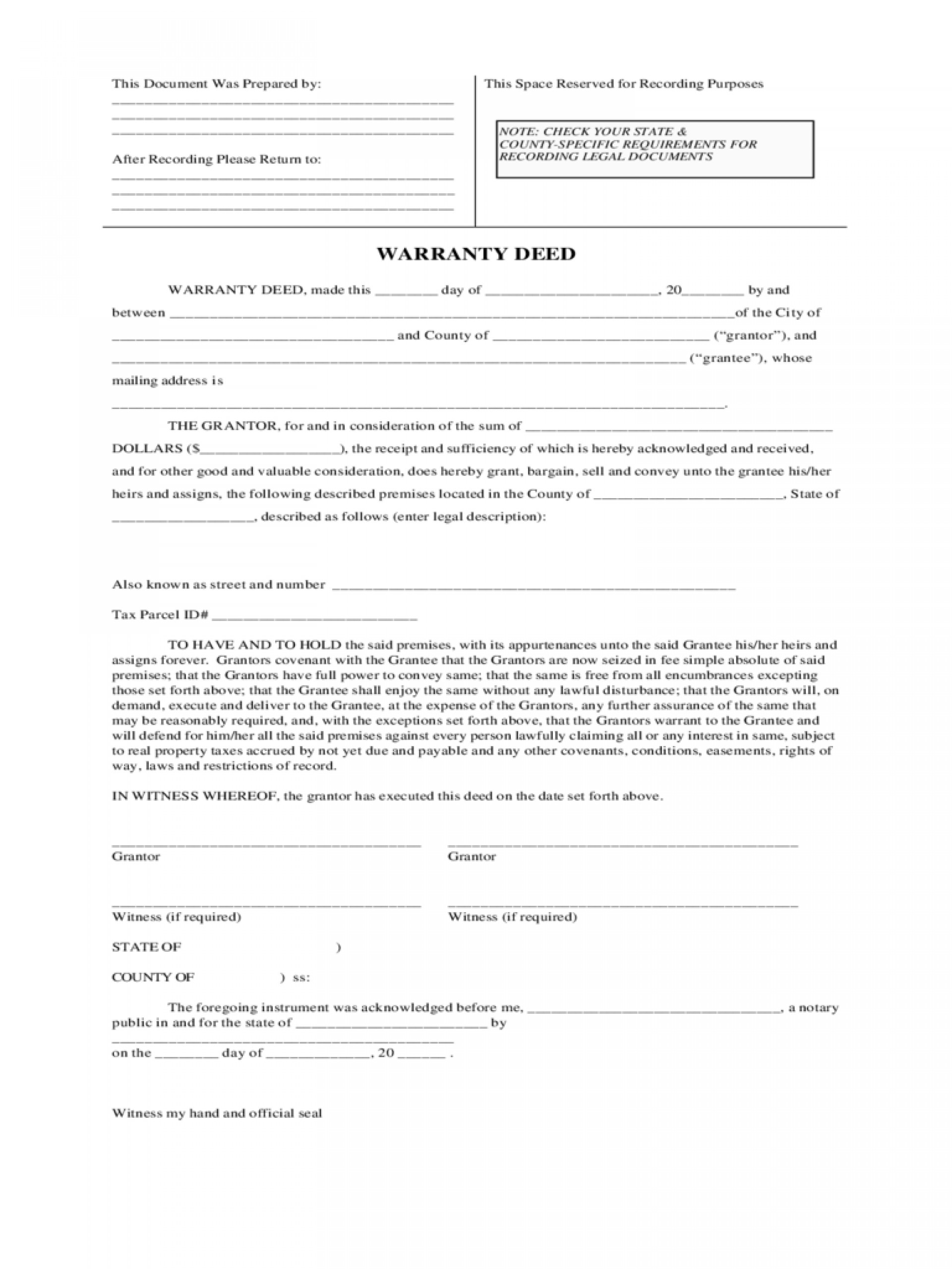 Warranty Deed Template Florida