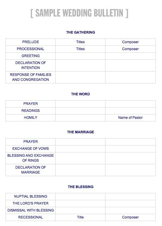 Wedding Bulletin Template