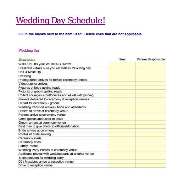 Wedding Day Agenda Timeline Template
