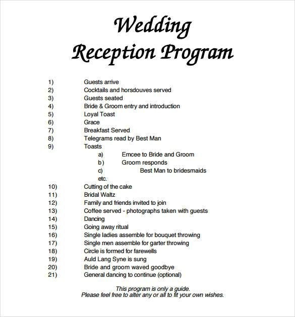 Wedding Reception Program Template Microsoft Word