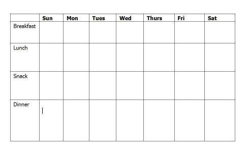 Weekly Daycare Menu Template