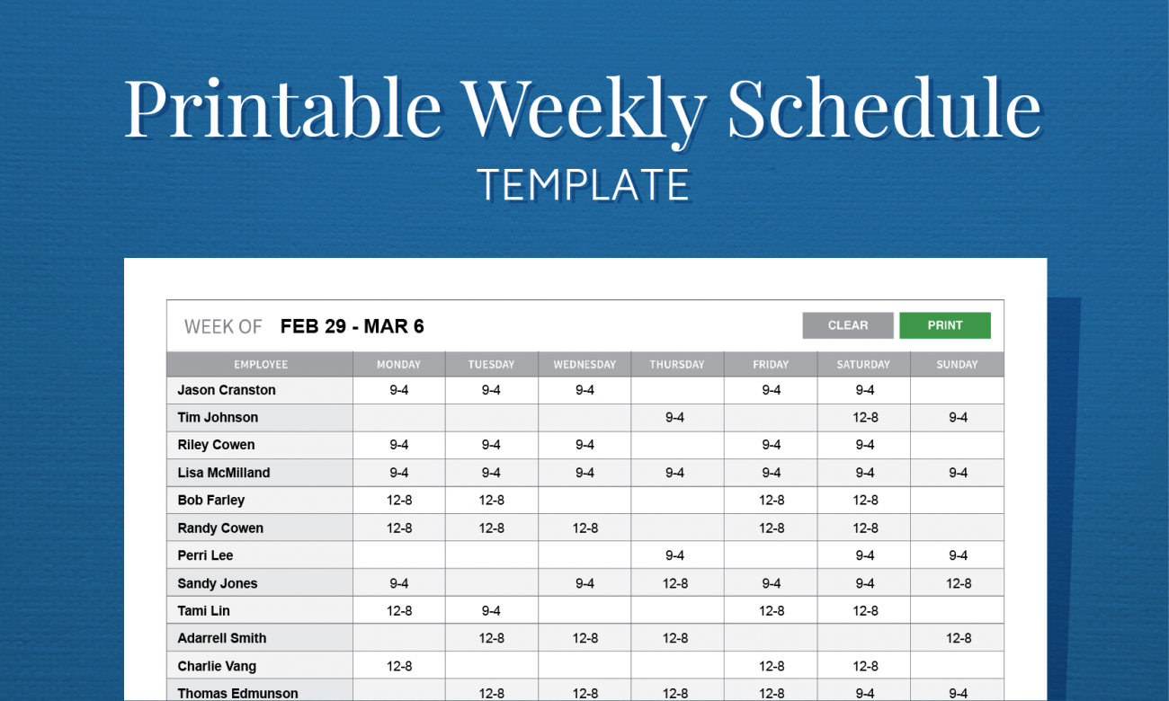 Weekly Employee Schedule Template Printable