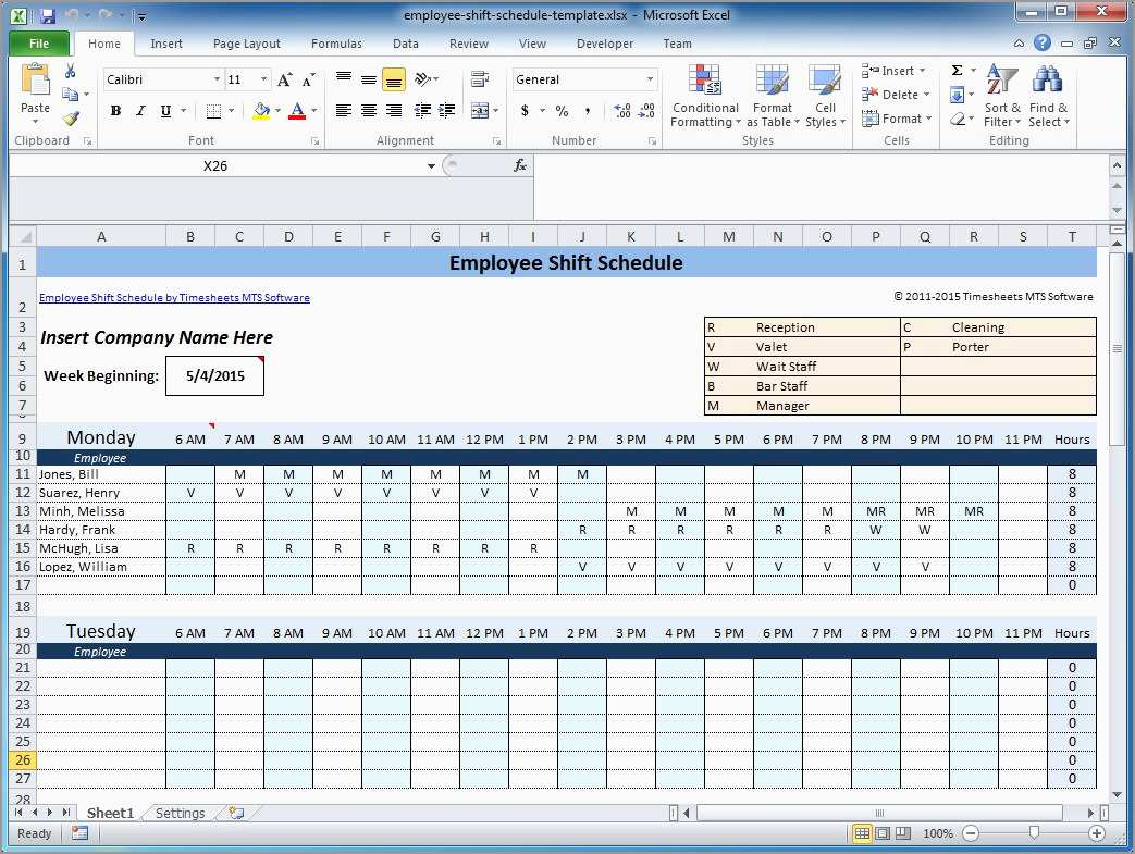 Free Weekly Employee Schedule Template Fabulous Weekly Employee Shift Schedule Template Excel