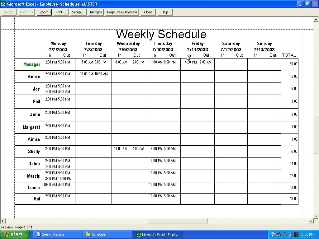 Weekly Restaurant Schedule Template Excel
