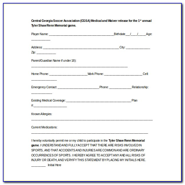 Youth Sports Waiver Form Template