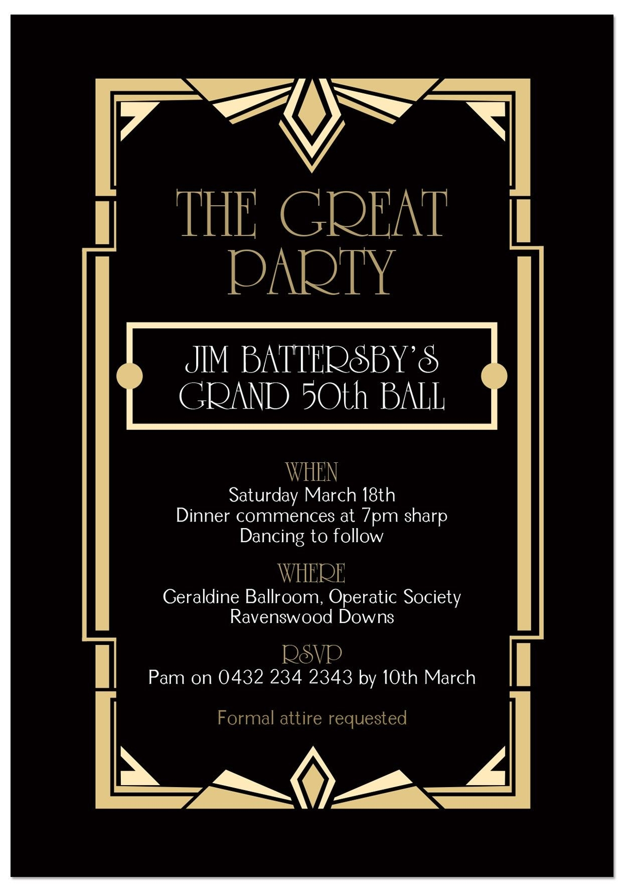 Great Gatsby Invitation Template Free Download Ivedi.preceptiv.co Within 1920s Invitation Template Free