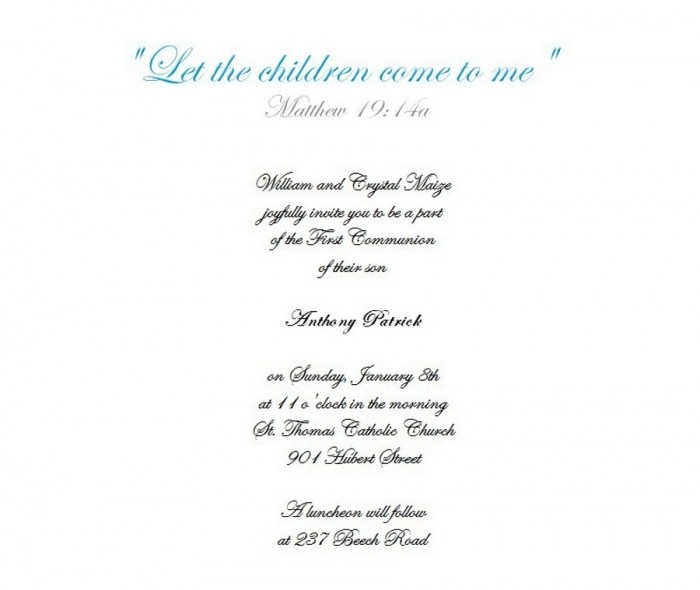 First Communion Invitations 5 Free Wording Theroyalstore