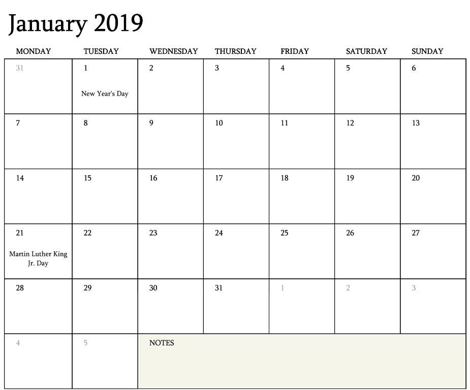 2019 Calendar Editable Template